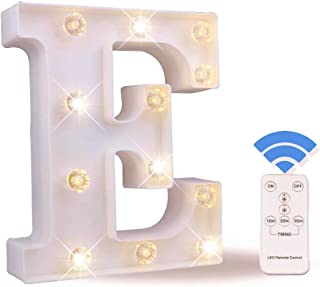 Obrecis LED Letter Lights White Marquee Letters Alphabet Light Up Sign with Diamond Bulbs Remote Control Timer Dimmable Wedding Birthday Party Decoration Letters (E)
