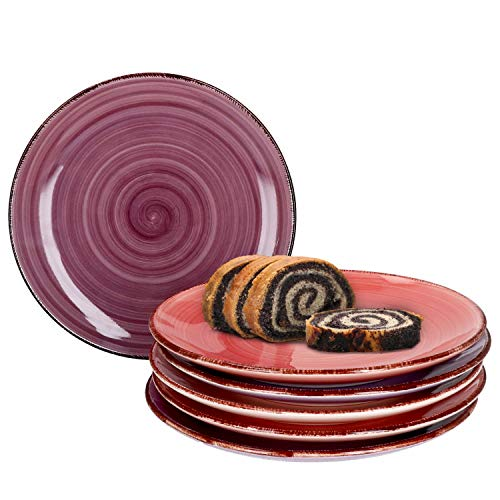 MamboCat Lila Baita 6er Set Kuchenteller I 6 Personen I Ø 19 cm I 6 versch. Violett-Töne I Strudel-Dekor I Dessertteller, Frühstücksteller I Steingut-Geschirr