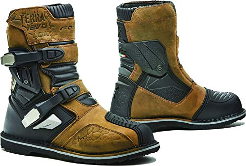 Fora Terra EVO Low WP - Botas de Moto homologadas CE, Color marrón T45
