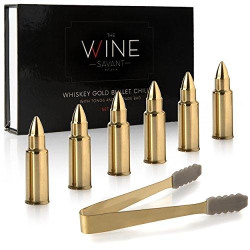 The Wine Savant - Juego de 6 copas de whisky con forma de bala de acero inoxidable, caja de regalo, pinzas y bolsa de almacenamiento, whisky o scotch Rocks