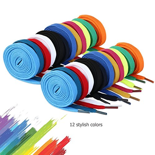 WINOMO 12 Paar Schnürsenkel flache Schuhe Ersatz für Sneakers Stiefel Skates Sport zufällige Farben
