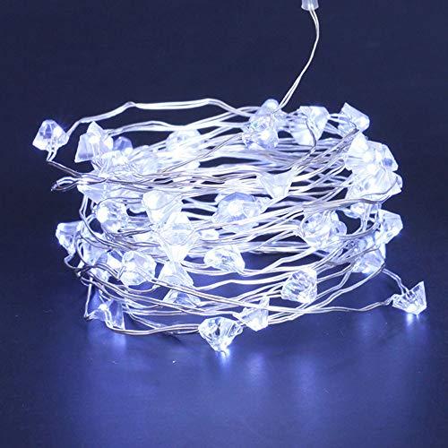 Lichterkette,FeiliandaJJ LED Diamant Kupferkabel Lichterkette LED Licht Hochzeit Party Halloween Innen/Außen Haus Deko String Lights 2 x AA Batterien (Weiß)