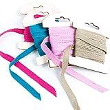 4 x 3 m rosa pink türkis natur braunes Baumwollband 1 cm 100% Baumwolle Geschenkband Band zum...