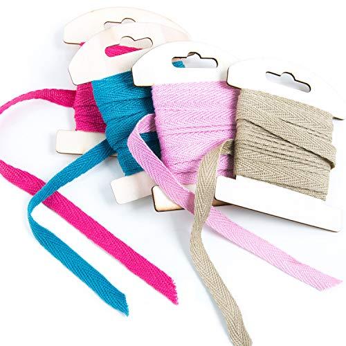 4 x 3 m rosa pink türkis natur braunes Baumwollband 1 cm 100% Baumwolle Geschenkband Band zum Nähen von selbstgemachten Masken Zierband Kordel