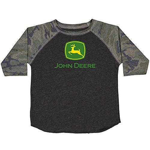 John Deere Camiseta de manga ¾ para hombre, color carbón, camuflaje - negro - Medium