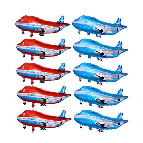 Toyvian 10 pcs Ballon Flugzeug für Kinder Geburtstags Geschenk Kindertag Feiern Party Dekoration (5 Blau und 5 Rot)