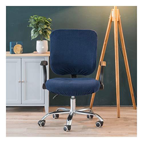 HONGBI Widerstandsfähiger Elastischer Sitzbezug für Bürostühle,Zweiteiliges Design (Stuhl Nicht im Lieferumfang enthalten) Abnehmbar Waschbar Blau Kissen