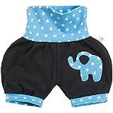 Lilakind' Kurze Kinder-Hose Baby Shorts Buxe Sommerhose Elefanten Applikation Sterne Blau Gr. 62/68- Made in Germany