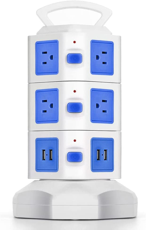 TNP Power Strip Tower with USB Ports Surge Protector - 10 AC Outlet + 4 USB Port Charging Station Desk Power Strip Supply Adapter Plug, Individual Switch, 6FT Extension Cord