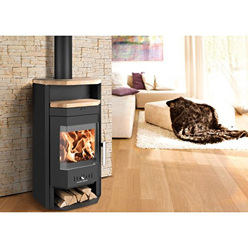 Haas + Sohn aarhus-ii 7kW schwarz Pearl Black + Sandstein Holz-Ofen, österreichischer Innovation, Design und Qualität