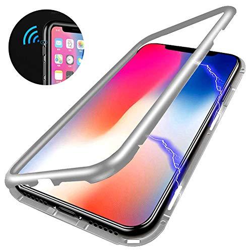 Elewelt Funda de Adsorción Magnética Compatible con iPhone X,[360 Full Body Protection][Marco metálico][Admite Carga Inalámbrica] Contraportada de Vidrio Claro Ultra Delgad Pare iPhone X[Blanco]
