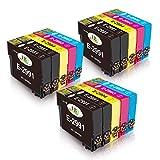 EBY Compatible Epson 29XL Cartuchos de Tinta con Epson Expression Home XP-245 XP-235 XP-247 XP-255 XP-345 XP-332 XP-342 XP352 XP432 XP-442 XP-445 XP-452 XP335 (6 Negro, 3 Cian, 3 Magenta, 3 Amarillo