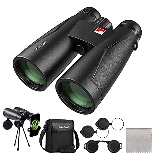 12x50 Binoculars for Adults with Nitrogen Filled IPX7 Waterproof - BaK-4 Prisms & FMC Lens, usogood High Power Binoculars for Bird Watching, Hiking, Hunting and Stargazing with Tripod Phone Adaptor