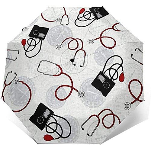 Nurse Doctor Reiseschirm Sonnenschirm-Lightweight Windproof Sunscreen Umbrella-Auto Öffnen und Schließen-Taste