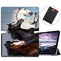 MAITTAO Galaxy Tab A 10.5 2018 Model SM-T590/T595/T597, Slim Folio Shell Case Stand Cover with Auto Wake/Sleep for Samsung Galaxy Tab A 10.5 Inch Tablet Sleeve Bag 2 in 1 Bundle, Flowers & Leafs 18