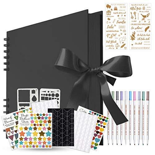 KASZOO Fotoalbum, Fotoalbum zum Selbstgestalten, DIY fotoalbum 80 Schwarze Seiten, Kann als Abschluss Geschenk, Geburtstagsgeschenk, Hochzeitstagsgeschenk, Jahrestag