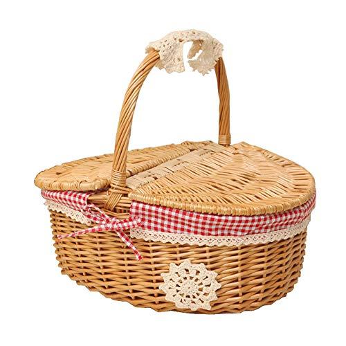 Milopon Picknickkorb mit Deckel Weidenkorb aus Rattan-Korb geflochtenem, Country Style Korb mit rotem und weißem Checker-Muster-Baumwollinnenfutter, Präsentkorb für Picknicks Partys