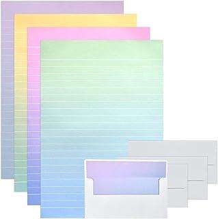 YOTINO 24 sobres con 48 papel de carta rayado, papel para escribir, lindo diseño colorido, 4 patrones diferentes