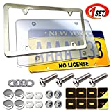 License Plate Cover and Frame Combo- Clear License Plate Cover and Stainless Steel Car Tag Holder, Flat Bubble Unbreakable Protector, Fit US Universal Front or Rear Bracket, Mount Screws, Chrome Caps