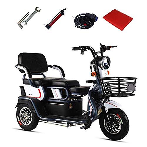 Aegilmc Scooter Eléctrico Scooter De Rueda 3, Triciclo Eléctrico para Personas Mayores Edad Tercera Edad Móviles E-Scooter E-Scooter 500W 25 Km/H Maleta Alcance hasta 55 Kilometros,Negro