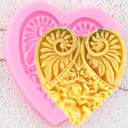YTBUBOR Moldes de Silicona con Encaje de corazón, Herramientas de decoración de Pasteles con Relieve de Flor de Rosa DIY, moldes de Pasta de Goma para Chocolate, Caramelo, Arcilla, Ploymer