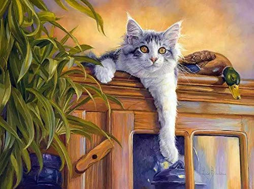 Lege doe-het-zelf schilderen, voor volwassenen, kast, kat, dieren, schilderen, voor beginners, nieuwe schilders, 40 x 50 cm, zonder lijst