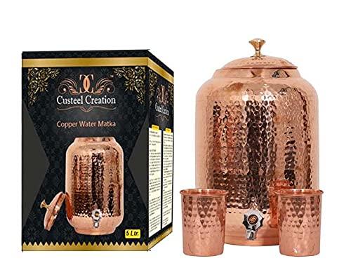 Juego de vasos de cobre puro – Olla de agua de cobre de 5 litros con 2 vasos, contenedor de agua de cobre – Juego de 3 unidades (5 litros)