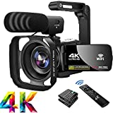 Video Camera 4K56MP Camcorder WIFI IR Night Vision Vlogging Camera 18X Digital Zoom 3.0'' IPS Touch Screen Video Camcorder with Microphone,Lens Hood