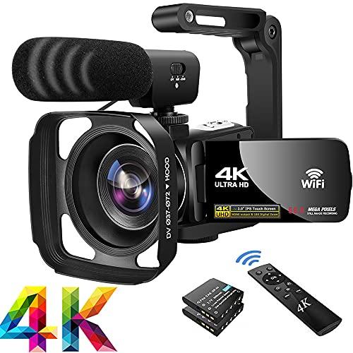 Video Camera 4K56MP Camcorder WIFI IR Night Vision Vlogging Camera 18X...
