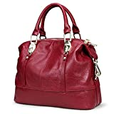 Women's Genuine Leather Bowling Hand Bag Full Grain Cowhide Handbags Ladies Purses For Party 8203 burgundy