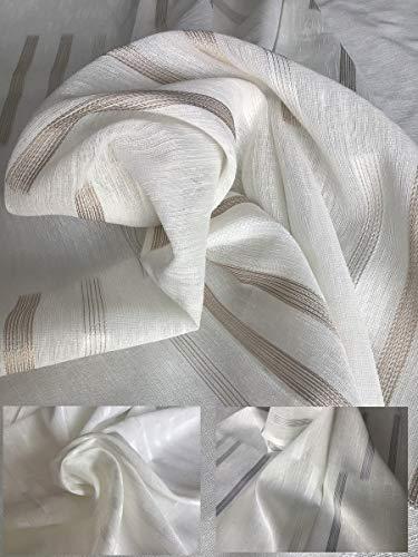 Muro - Tela para cortinas por metro - Color: blanco - gris - Altura del tejido 300 cm - Art. Berenice
