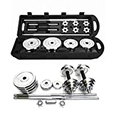Pubota Adjustable Weight Dumbbell Set, Free Weight Set with Connecting Rod 50KG/110LB Fitness Equipment Combination Extended Strength Training (Black Grip)