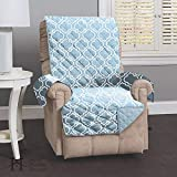 Reversible Recliner Cover for Living Room. Oversized, Recliner Furniture Protector with Secure Straps. Recliner Cover for Dogs, Protect from Kids and Pets. (26' Recliner, Marine Blue)