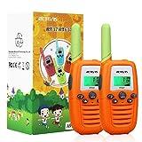 Retevis RT637 Walkie Talkie Niños PMR446 16 Canales Linterna VOX Operación Fácil Walkie Talkie para Niños Juguete de Regalo para Niños (Naranja, 1 par)