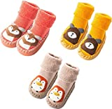 Infant Baby Boy Girls Toddlers Moccasins Non-Skid Indoor Slipper Shoes Socks Booties with Grips (18-24 Months, Beige Orange Yellow)