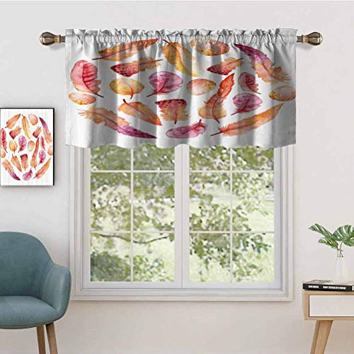 Hiiiman Indoor Privacy Window Valance Curtain Panel Watercolor Style Effect Hand Drawn Feathers on White Background Print, Set of 1, 50'x18' for Sliding Patio Door/Dining
