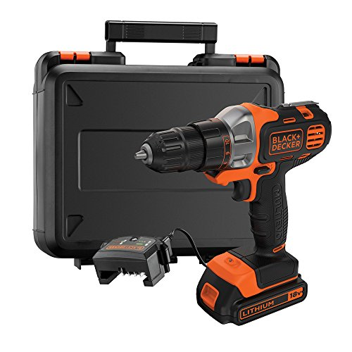 BLACK+DECKER 18 V Multievo Power Drill with Screw Bits, Driver Attachment and Kitbox, 1.5 Ah Lithium Ion, MT218K-GB
