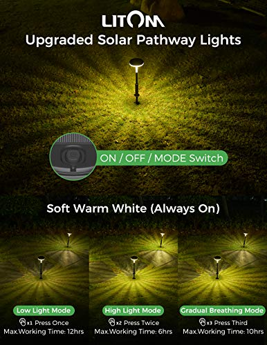 LITOM Solar Pathway Lights Outdoor, 3 Lighting Modes Solar Powered Garden Lights, IP65 Waterproof Wireless Solar LED…