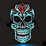Maschere a LED Halloween Skull, Qkiss Voice Control Maschere per cosplay di maschere di luce fredda a sorgente luminosa, Maschere luminose Maschere stregate unisex luminose