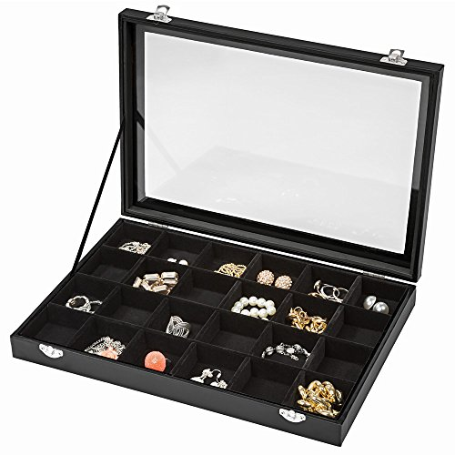 TecTake Boîte coffret de rangement présentoir à bijoux 24 grilles - noir -