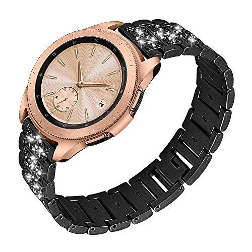 Ruentech für Galaxy Watch Active/Galaxy Watch 42 Mm/Gear S2 Classic/Gear Sport Armband Metall Edelstahlbänder Ersatz Kompatibel mit Samsung Uhrenzubehör (Black)