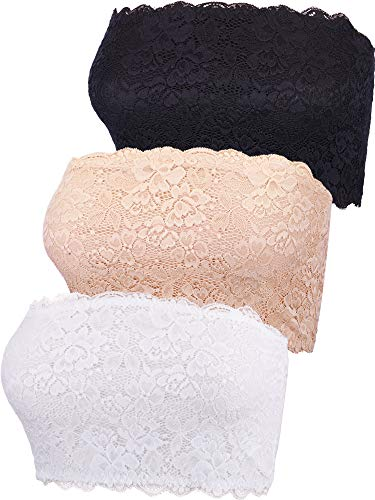 Boao 3 Pieces Women's Floral Lace Tube Top Bra Bandeau Strapless Bras Seamless Stretchy Chest Wrap (Color Set 1, XX-Large)