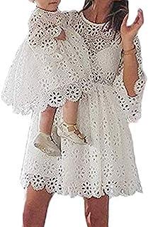 Loalirando Madre e Figlia Abiti Famiglia Manica Lunga in Pizzo Bianco Vestito Bambina/Vestiti Donna Elegante