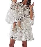 Loalirando Madre e hija vestido familia manga larga de encaje blanco vestido niña/vestidos mujer elegante niña 80 cm (6- 12 meses)