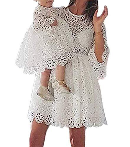 Loalirando Madre e hija Vestidos Familia Manga Larga de Encaje Blanco Vestido Niña/Vestidos Mujer Elegante niña 4-5 Años