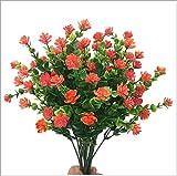 BAIDEFENG Flores Artificiales, Eucalipto Flores Artificiales De Plástico Flores Falsas De Plástico Plantas Resistentes Al Aire Libre Ramo De Novia De Novia El Hogar Decoración -10Pcs,Naranja