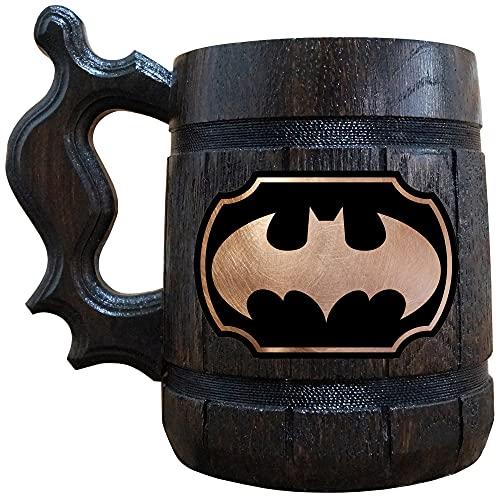 Batman Beer Mug, Dark Knight Wooden Beer Stein, Geek Gamer Gift, Batman Animated Series Tankard, Arkham Gift
