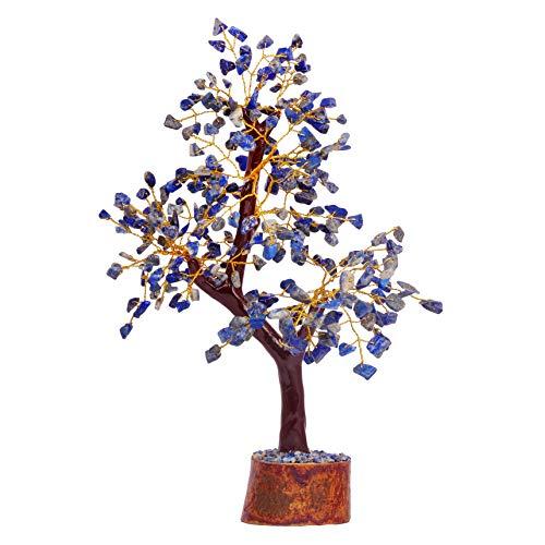 Lapis Lazuli Money Tree Aura Crystal Cleansing Reiki Healing Chakras Stones Gemstone Feng Shui Decor Chakra Balancing Home Goods Decoration Vastu Fortune 10-12 Inch (Golden Wire)