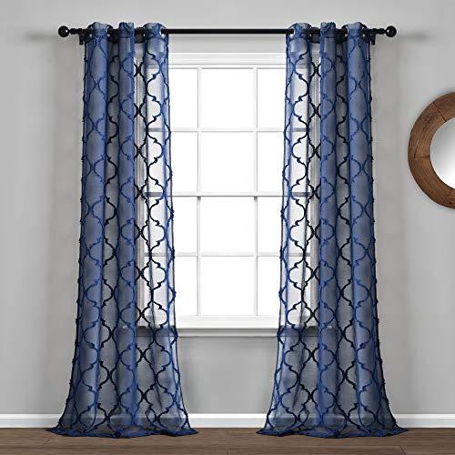 "Lush Decor Navy Avon Trellis Grommet Sheer Window Curtain Panel Pair (84"" x 38"")"