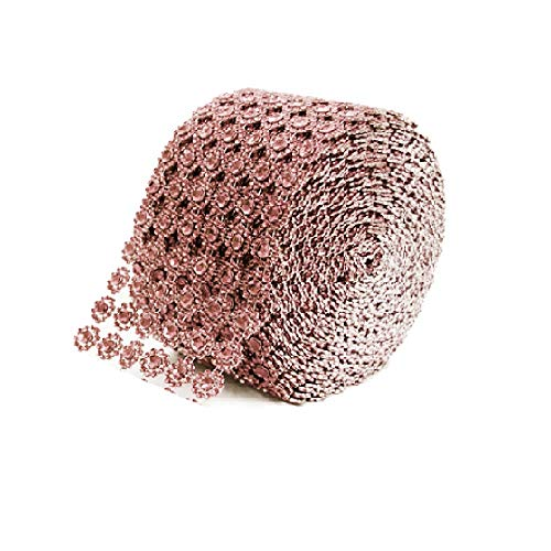 Diamond Flower Shape Mesh Wrap Roll Faux Rhinestone Crystal Ribbon 4' x 10 Yards (30 ft) … (Rose Gold)
